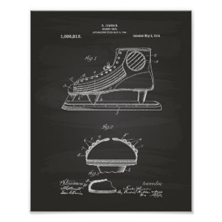 Hockey Shoe 1914 Patent Art Chalkboard Poster