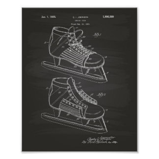 Hockey Shoe 1934 Patent Art - Chalkboard Poster