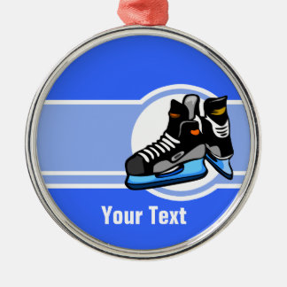 Hockey Skates; Blue Christmas Ornament