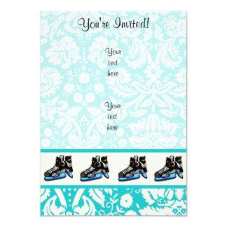 Hockey Skates; Damask 13 Cm X 18 Cm Invitation Card