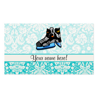 Hockey Skates; Damask Double-Sided Standard Business Cards (Pack Of 100)