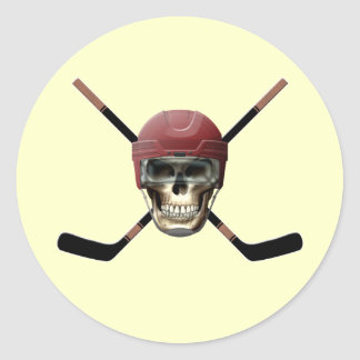 Hockey Skull & Crossed Sticks Classic Round Sticker