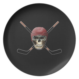 Hockey Skull & Crossed Sticks Party Plates