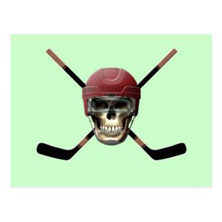 Hockey Skull & Crossed Sticks Postcard