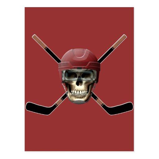 Hockey Skull & Crossed Sticks Post Cards