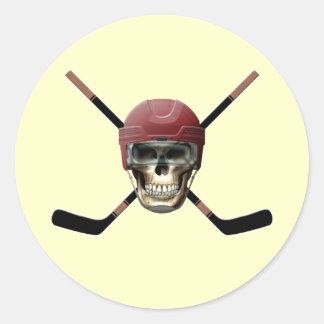 Hockey Skull & Crossed Sticks Round Sticker