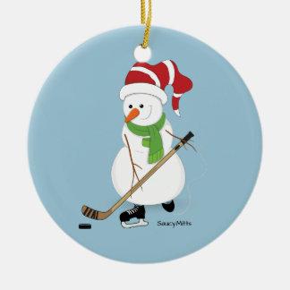 Hockey Snowman Christmas Ornament