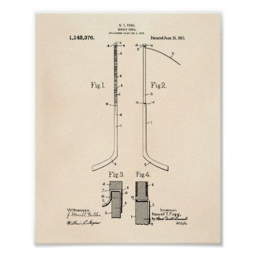 Hockey stick 1915 Patent Art - Old Peper