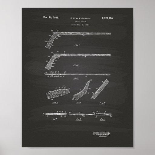 Hockey Stick 1935 Patent Art - Chalkboard Poster