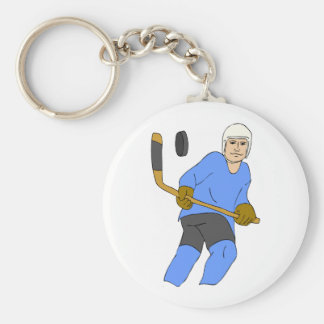 Hockey Stick And Puck Basic Round Button Key Ring