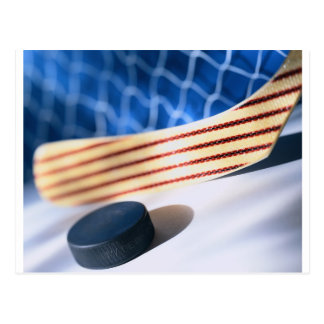 HOCKEY STICK AND PUCK POSTCARD