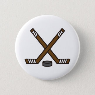 Hockey Sticks and Puck 6 Cm Round Badge