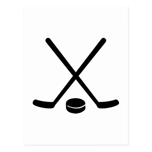 Hockey sticks puck postcard