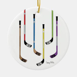 Hockey Sticks Round Ceramic Decoration