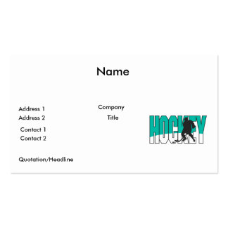 hockey text aqua blue pack of standard business cards