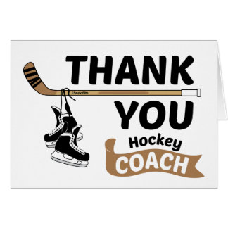 Hockey Thank You Coach Skates and Stick Card