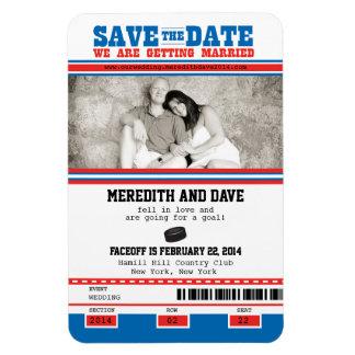 Hockey Ticket Photo Save the Date Rectangular Photo Magnet