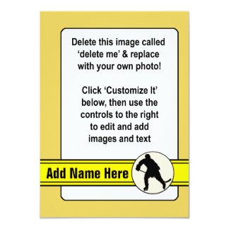 Hockey Trading Card Template 11 Cm X 16 Cm Invitation Card