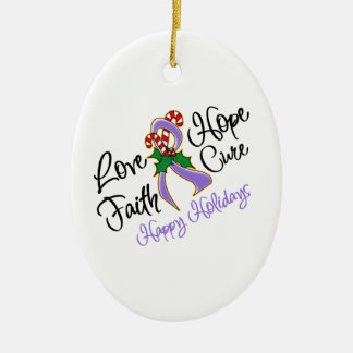 Hodgkin Lymphoma Hope Love Cure Happy Holidays Ceramic Oval Decoration
