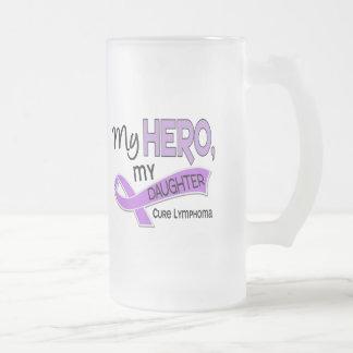 Hodgkin's Lymphoma MY HERO MY DAUGHTER 42 Frosted Glass Beer Mug