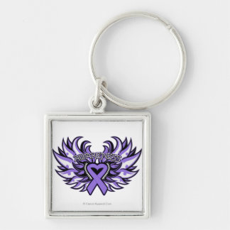 Hodgkin's Lymphoma  Awareness Heart Wings Silver-Colored Square Key Ring
