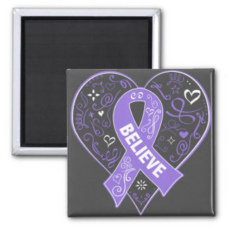Hodgkins Lymphoma Believe Ribbon Heart 2 Inch Square Magnet