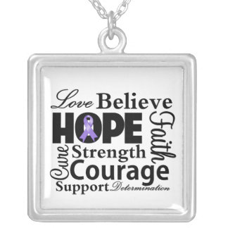 Hodgkins Lymphoma Collage of Hope Square Pendant Necklace