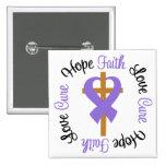 Hodgkins Lymphoma Faith Hope Love Cross Button