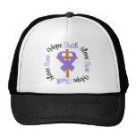 Hodgkins Lymphoma Faith Hope Love Cross Trucker Hat