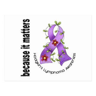 Hodgkin's Lymphoma Flower Ribbon 3 Postcard