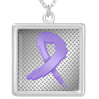 Hodgkins Lymphoma Grunge Ribbon Metal Style Personalized Necklace