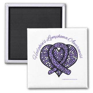 Hodgkins Lymphoma Mosaic Heart Ribbon Square Magnet