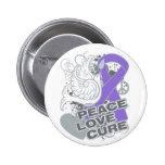 Hodgkins Lymphoma Peace Love Cure 6 Cm Round Badge