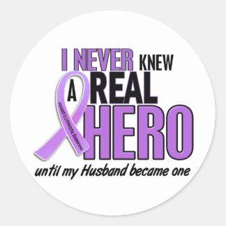 Hodgkins Lymphoma REAL HERO 2 Husband Round Sticker