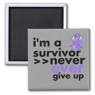 Hodgkins Lymphoma Survivor Never Give Up Square Magnet