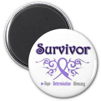 Hodgkins Lymphoma Survivor Tribal Ribbon 6 Cm Round Magnet