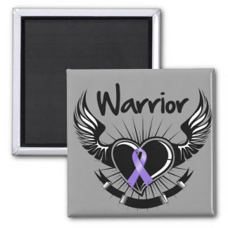 Hodgkins Lymphoma Warrior Fighter Wings Square Magnet
