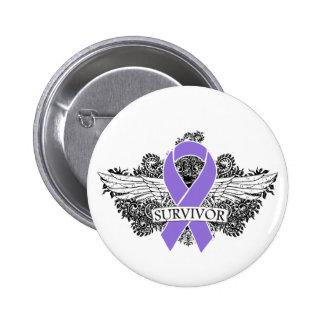 Hodgkins Lymphoma Winged SURVIVOR Ribbon 6 Cm Round Badge