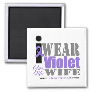 Hodgkins Violet Ribbon Wife Square Magnet