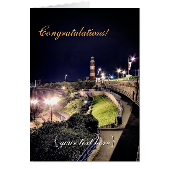 Hoe Approach and Smeaton's Tower - Congratulations Card