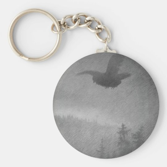 Hoestkveld by Theodor Severin Kittelsen Basic Round Button Key Ring