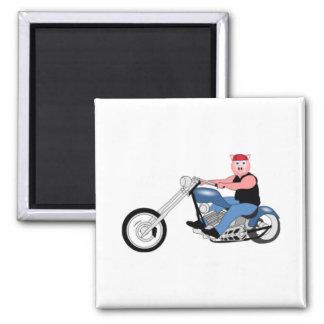 Hog biker square magnet