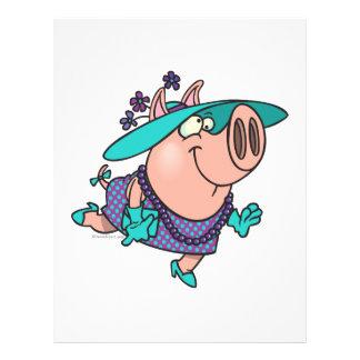 hog in a hat lady cute piggy cartoon flyers