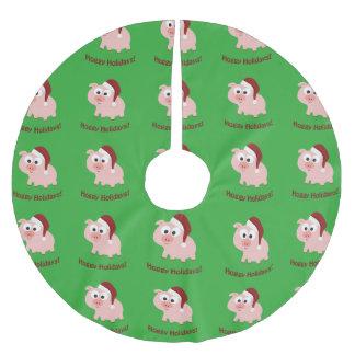 Hoggy Holidays! Santa Pig Brushed Polyester Tree Skirt