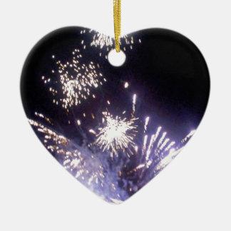Hogmanay Fireworks Ceramic Heart Decoration