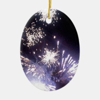 Hogmanay Fireworks Ceramic Oval Decoration