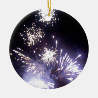 Hogmanay Fireworks Round Ceramic Decoration