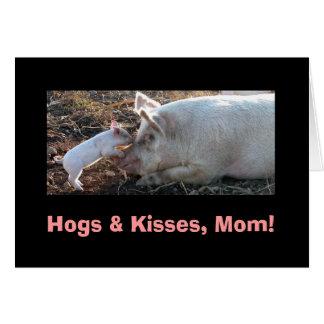 Hogs & Kisses, Mom! Card
