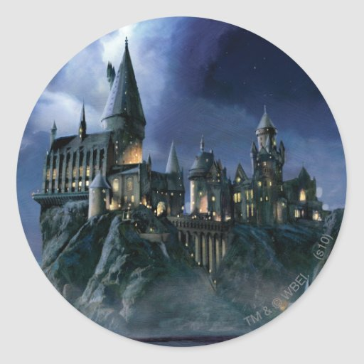 Hogwarts Castle At Night Round Sticker