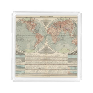 Hohen und Tiefen - Highs and Lows Atlas Map Acrylic Tray